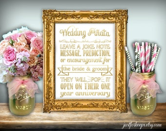 Wedding Piñata Sign Printable 8x10 PDF Instant Download Modern Classic Gold & White Printable Wedding Sign Guest Book Alternative Sign