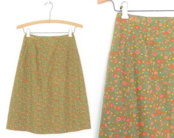 Vintage 70s Skirt * Calico Floral Skirt * A-Line Midi Skirt * XS