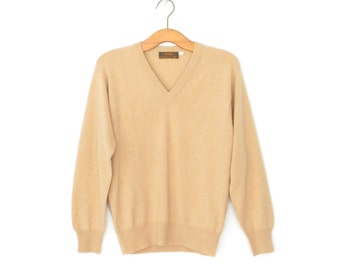 Vintage Cashmere Sweater * Preppy V-neck Pullover * Tan Sweater * Medium