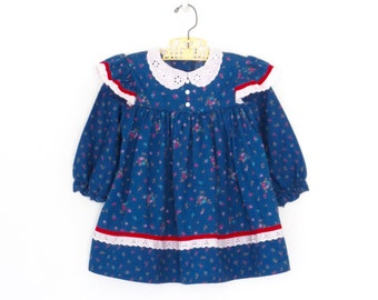 Vintage Toddler Dress * Blue Calico Floral Dress * Butterfly Ruffle Child's Dress * size 3 4