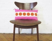 Hot Pink Linen Pillow with Hand Printed tomato circle trim, down insert included, exposed yellow zipper with leather pull, 20x20 or 10x20