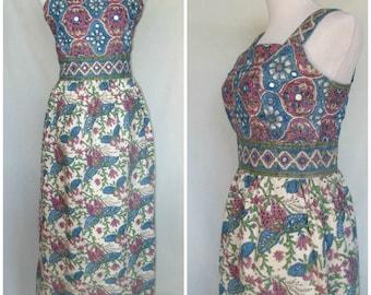 1970s Ramona Rull Dress, Maxi, Made in Pakistan, Cotton Block Print, Hippie Boho