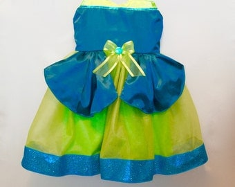 Cinderella Stepsister Dress: turquoise & green sparkle tutu, easy on off, costume, birthday, vacation, adjustable, ugly stepsister, Drizella
