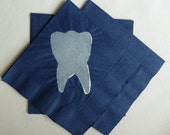 Tooth Paper Cocktail/ Luncheon/ Dinner Napkins - Blue and White