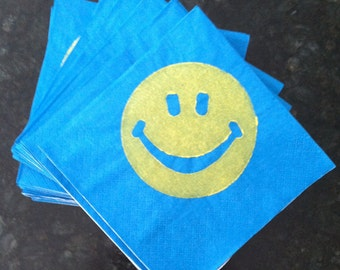 Yellow Smiley Face Paper Cocktail/ Lunch/ Dinner Napkins