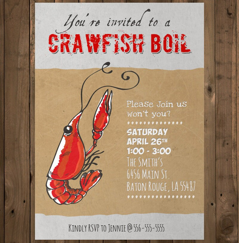 It is a graphic of Slobbery Crawfish Boil Invitations Free Printable
