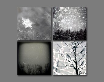 on Sale - Rustic Winter Wall Art, Black and White Set of 4 Prints for Winter / Snow / Snowflake Gray Wall Art Decor