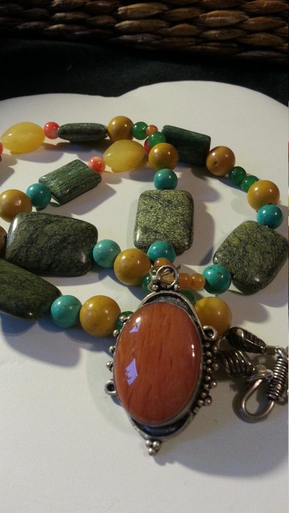 Earthy Necklace natural stones, Aventurine, Yellow Jade, Fossil Rock, Turquoise, Coral Pendent