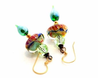 Light Green Glass Bead Earrings. Dangle Drop Earrings. Boro Bead Earrings. Lampwork Glass Jewelry.