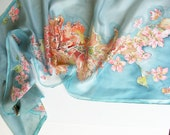 silk scarf blue pastel pink decorative flowers.hand painted silk scarf.Scarf with floral motives.luxury scarf.Mother day gift Woman fashion