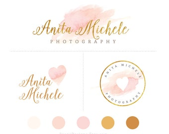 Watercolor Branding Package- Premade Logo Design with Submark/Alternative Logo, Swish, Wash, Heart, Gold Foil, Golden Glitter, Blush Pink