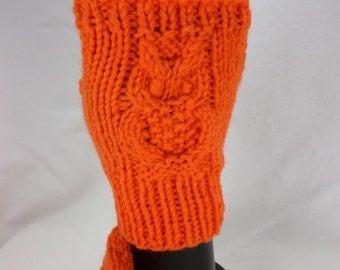 Orange Owl Fingerless Mitts