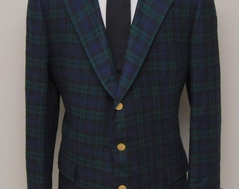 Vintage men's green and blue plaid blazer/ Vint men's plaid blazer