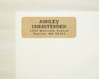 Return Address Labels - Design #05, Decorative Address Labels, Brown Kraft Address Labels, Custom Printed Labels, Wedding Return Address