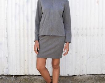 Vintage 2 Piece 1990's Minimalist Sporty Zip Cotton Jacket & Mini Skirt Outfit Set M