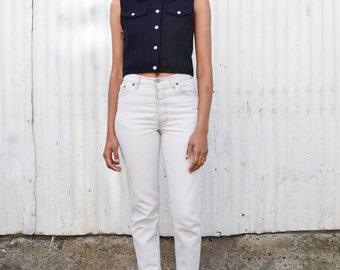 Vintage Armani Jeans 1990's Navy Wool Minimalist Fitted Crop Vest Top XS/S