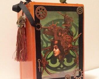 Steampunk Green and Copper Gearhead Girl Gun Lady Wood Cigar Box Purse On Sale!
