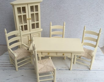 Miniature Dining Room Set Cream 6 Piece Includes Corner Hutch 4 Woven