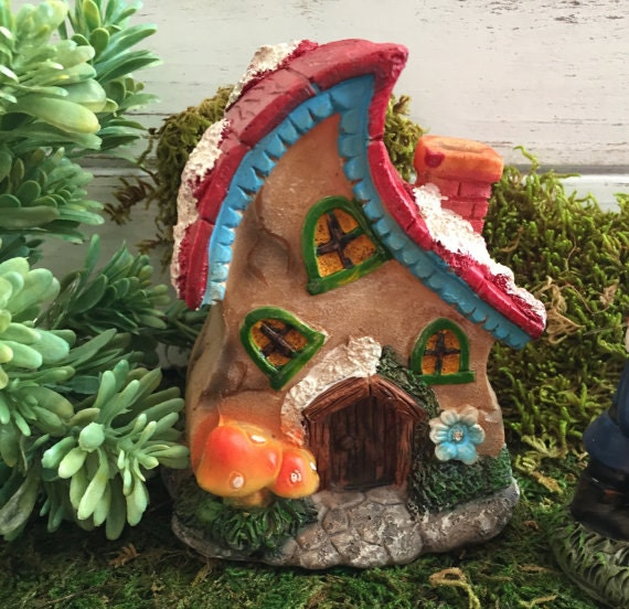 Fairy Garden House With Slanted Roof and Mushrooms,  Fairy Garden Accessory, Home and Garden Decor