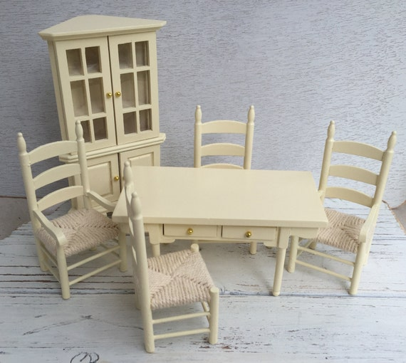 Miniature Dining Room Set, Cream 6 Piece Set, Includes Corner Hutch, 4 Woven Seat Chairs And Table, Dollhouse 1:12 Scale Miniatures