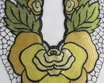 "Vintage Dress Neckline Applique UNUSED 12.5"" Art Deco Floral Flower"