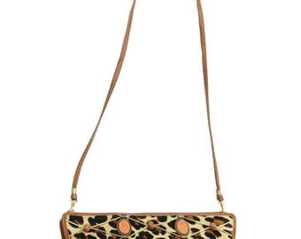 Vintage 80s Leather Purse Leopard Print Fur Handbag Shoulder Bag Tan 1980s Colini