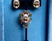 Vintage NOH Demon Mask Brooch & Earrings Set-
