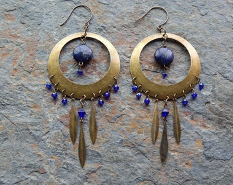 Boho earrings, Chandelier earrings, Big earrings, lapis lazuli, brass, Huge statement earrings, midnight blue, gemstone, dangle earrings