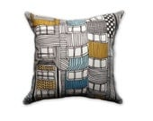 Art Deco Apartment Pillow Cushion Slip Cover Sham Linen Cotton Building Linear Drawing Black White Blue Yellow Bondi 17 inch x 17 inch
