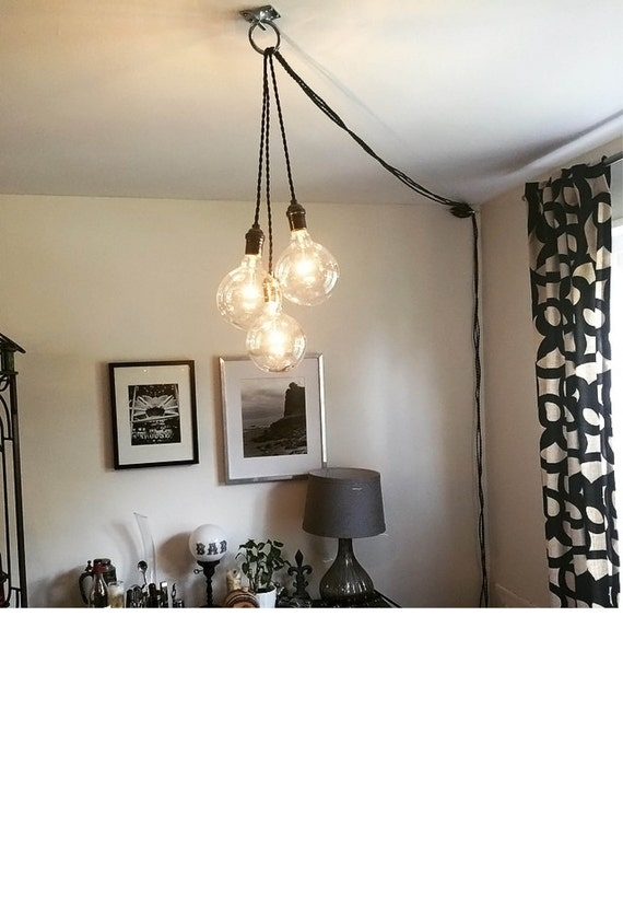 Chandeliers That Plug In: Unique Chandelier PLUG IN Modern Hanging Pendant Lamp Industrial lighting  unique ceiling Fixture Antique or LED,Lighting