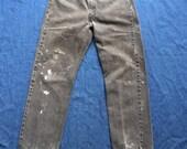 SALE Levi's Boyfriend Jeans / Black Denim Jeans / Low Slung Denim  / Rips Stains Holes Paint Splatter  / Unisex / Women's and Mens Denim