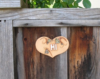 "Ceramic ""Hi"" Sign- Made with Real Grape Leaf Sprays - Small Heart-Shaped Wall Hanging Sign - Doorway, Gate or Entryway Decoration - Nature"