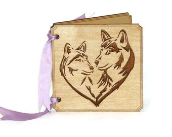Personalize Love Card, Wolf Greeting Card, Modern Heart, I love you card, 5th Anniversary Card, Wood Greeting Card, Valentines Day Card