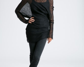 Off Shoulder Sweater / Asymmetric Blouse / Oversize Cardigan / Black Jumper / Wool Sweater / marcellamoda k - MB797