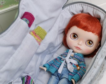Travel Bag Sleeping Protective Doll Case Blythe Littlefee YOSD Penny by Linda Macario 1/6 Bjd Dal Pullip Gray Flowers