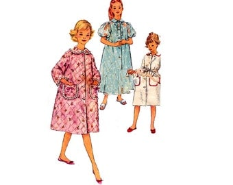 50s Girls Robe Pattern Simplicity 3244 Dressing Gown Size 10 Breast 28 inches