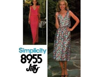 70s Jiffy Blouson Dress or Maxi Pattern Simplicity 8955 Vintage Sewing Pattern Size 10 Bust 32 1/2 Inches