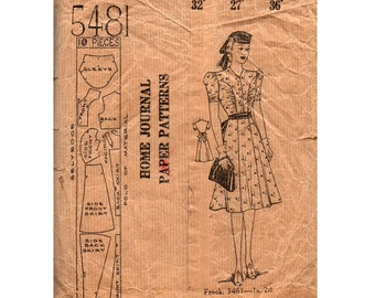 Australian Home Journal 5481 Womens Short Sleeved Shirtdress 1940s Vintage Sewing Pattern Bust 32 inches