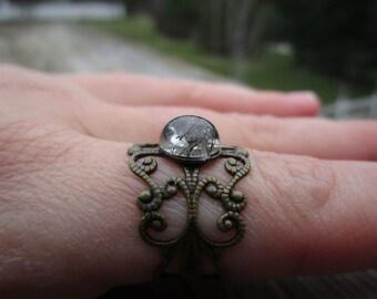 Rutile Quartz Boho Ring Adjustable Brass