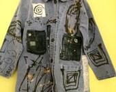 Distressed fabulized denim coat fits M L