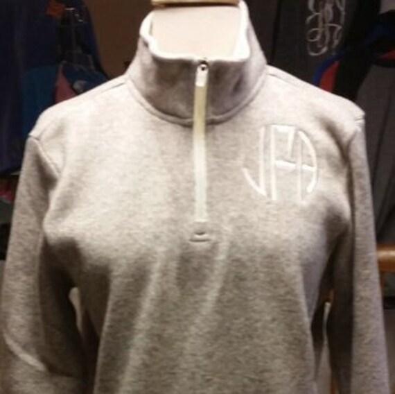 monogrammed charles river heathered quarter zip pullover