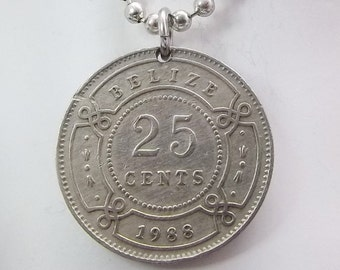 Coin Necklace, Berlize 25 Cent Coin, Ball Chain, Men's Necklace, Women's Necklace, 1988