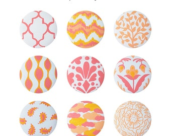 Hand Painted Knob - Children's Custom Classic Fabric Designs and Patterns Drawer Knobs Pulls or Nail Covers for Kids