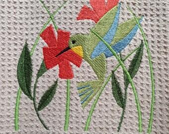 Hummingbird in Flowers (Beige) - Microfiber Waffle Weave Kitchen Hand Towel