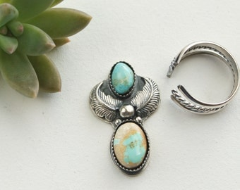 Turquoise and Sterling Silver Ring, Southwestern Ring, Boho