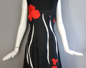 1960s MATISSE PRINT floral painterly silk tailored shift DRESS vintage 1960s black