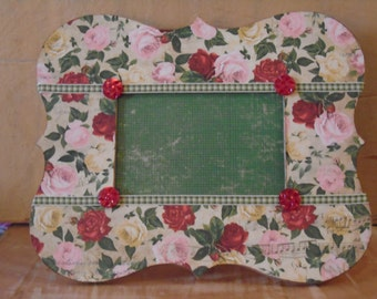 Flowers Roses Cottage Chic Decoupaged Picture Frame