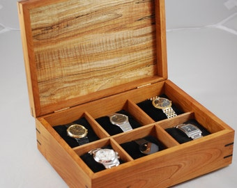 Watch Box -Cherry & Spalted Maple Watch Box - Holds 6