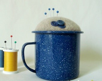 Pincushion Blue Enamelware Cup Campfire Mug Buttons Repurposed Make-Do Sewing