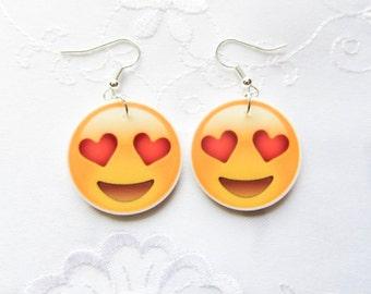 Heart Emoji Earrings, Heart Emoticon Earrings, Emoji, Emoticon, Earrings, Happy Face, Cute Earrings